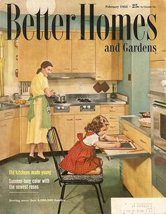 Better Homes and Gardens kitchen. Love the pull out desk / prep spot Vintage Advertisements, Vintage Ads, Vintage Images, Vintage Decor, Vintage Housewife, Vintage Interiors, Mid Century Decor, Retro Home, Vintage Magazines