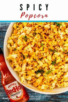 Elevate your football party or family movie night with this hot sauce spiked Spicy Popcorn Recipe! Perfect for causal parties! Spicy Popcorn, Homemade Popcorn, Gourmet Popcorn, Popcorn Recipes, Flavored Popcorn, Spicy Recipes, Vegetarian Recipes, Healthy Recipes, Lean Recipes