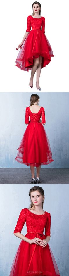 High Low Prom Dresses Party Dresses A-line Scoop Neck, Lace Formal Dresses Modest Tulle, Asymmetrical Evening Gowns Sleeve Cute Formal Dresses, High Low Prom Dresses, Prom Dresses For Teens, Prom Dresses 2018, Long Prom Gowns, Plus Size Prom Dresses, Beautiful Prom Dresses, Prom Dresses Online, Prom Party Dresses