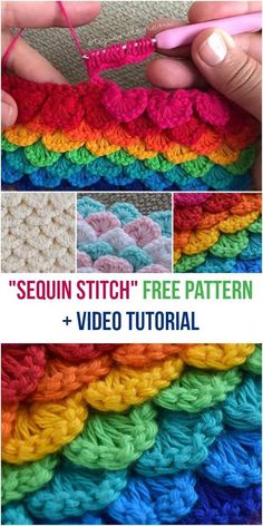 Sequin Stitch [Free Crochet Pattern + Video Tutorial] Crocheting stitch very similar to crocodile stitch, but not so complicated, easy. #crochet #stitch #SequinStitch #yarn #crochetpattern #videotutorial #crochetstitches