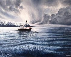 MonikaWinterArt on Etsy Snowy Mountains, Arctic, Landscape Paintings, Sailing, Waves, Boat, Awesome, Outdoor, Etsy