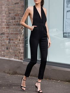 Plunging Neck Sleeveless Fitting Open Back Jumpsuit