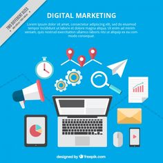 Digital marketing background with colorful tools Free Vector