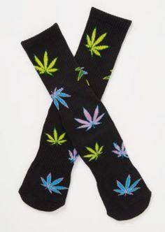 Marijuana Weed Leaf Print Warm Cotton High Sport Socks 4 pairs-pack