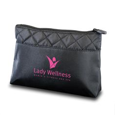 Custom logo quilted design cosmetic makeup bag is made of black microfiber with quilt stitch patter on top edges. Features top zipper closure, inner zipper compartment, and holds cosmetics or accessories for daily use. #promotionalproducts