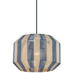 The Kenzie Pendant offers a fun, whimsical look featuring a geometric shaped frame with stripes of Navy and Beige cord lining, suspended from a Black cord and Aged Brass finished canopy. CE and cUL listed.