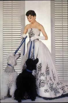 Black & White - Audrey Hepburn with Black and White Poodles, from Sabrina