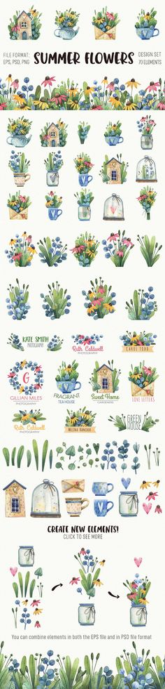 Watercolor summer set by Sсherbynka on @creativemarket