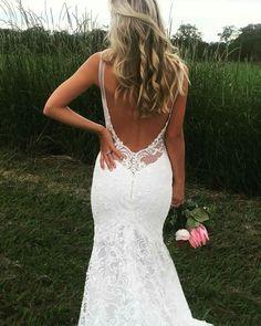 Open back lace wedding dress ,beach wedding dress with medium train #weddingdress #weddinggown #beachweddinggown