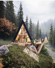 Stunning A-frame cabin with a sleek style. This ties together the best of modern architecture and cabin life against the most enchanting forest landscape. A Frame Cabin, A Frame House, Beautiful Homes, Beautiful Places, House Beautiful, Beautiful Interiors, Romantic Places, Beautiful Beautiful, 3d Architectural Visualization