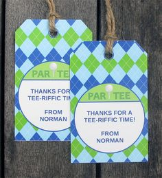 Golf Birthday Party Thank You Tags | Favor Tags | Printable Template