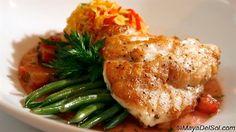 pescado del dia | red grouper · spaghetti squash · green onion · red bell pepper · rhubarb marmalade