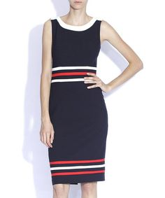 Take a look at this Nissa: Navy Block Stripe Dress by Nissa on #zulily today!