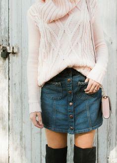 Denim mini and sweater on Haley's Dailies: Fashion & Lifestyle Blog