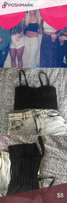 Caged crop top black Small. Worn a few times Garage Tops Crop Tops