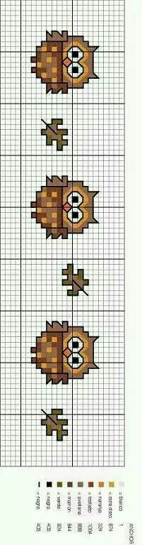Owls - cross stitch pattern.  Colours used are from Anchor