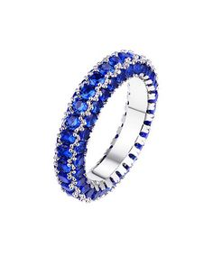 Loving this Royal Blue Cubic Zirconia & White Gold Brilliant-Cut Eternity Band on #zulily! #zulilyfinds