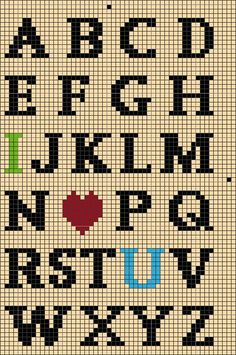 & Love You& Alphabet Chart Ornament/Doorknob PillowIf you are looking for some great cross stitch fonts suggestions, this is the web page you have to learn ways to make your personal audacious stitched expressions.Stars and Stripes Chart upper caseI love Crochet Alphabet, Crochet Letters, Cross Stitch Alphabet Patterns, Cross Stitch Letters, Cross Stitch Charts, Cross Stitch Designs, Stitch Patterns, Alphabet Charts, Letter Patterns