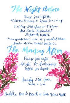 Mykonos Greek Wedding Accommodation Card Invitation Suite. Watercolor & Calligraphy Couture artwork by: Pigment & Parchment
