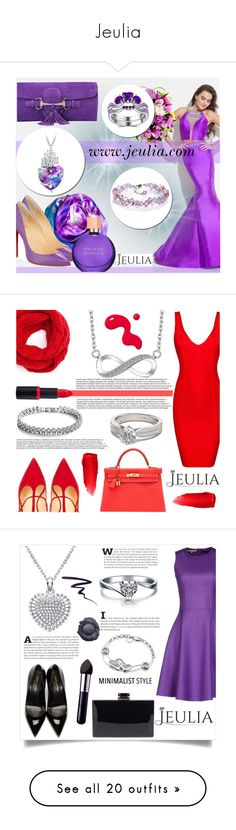 """Jeulia"" by smasy ❤ liked on Polyvore featuring jeulia, Rachel Allan, Leona Lengyel, Christian Louboutin, Gucci, Estée Lauder, women's clothing, women, female and woman"