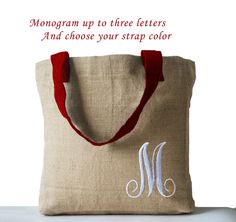 Monogram Natural Jute Tote Bag Personalized Natural by AmoreBeaute