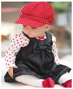 Baby girl two piece set : dress and hat, Newborn  - 2y. $39.99, via Etsy.