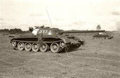 T-54-2 obr. 1949 in Russia, observe the strange, wide, white recognition markings at the rear of the turret.