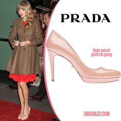 Taylor Swift in Prada Platform Pumps was spotted outside 'Good Morning America'