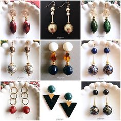 These are a good selection of really lovely earrings. I can match them with a number of outfits. Handmade Accessories, Handcrafted Jewelry, Jewelry Accessories, Fashion Accessories, Beaded Earrings, Beaded Jewelry, Pinterest Jewelry, Earring Trends, Fashion Earrings