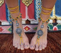 GYPSY yellow BAREFOOT SANDALS with antique flowers wheels hand made foot jewelry bohemian tribal