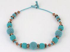 Chunky necklace Beaded bead bright turquoise by tatianakorba, $75.00