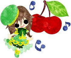 フリーイラスト素材可愛い女の子とさくらんぼ  Free Illustration A cute little girl and cherries   http://ift.tt/2pctekE