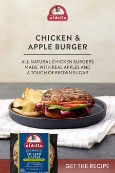 Build this flavorful burger with Aidells All-Natural chicken & Apple Burgers - Made with real apples and a touch of brown sugar. Get the recipe. Fried Chicken Recipes, Pork Recipes, Salad Recipes, Cooking Recipes, Healthy Recipes, Turkey Burger Recipes, Jambalaya Recipe, Enchilada Recipes, Greens Recipe