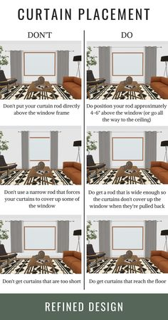 The do's and don'ts of curtain placement. How to hang your curtains the right way. The rules and guidelines to hanging your curtain and curtain rod. curtains THE DO'S + DON'TS OF CURTAIN PLACEMENT Interior Design Guide, Interior Design Curtains, Interior Design Quotes, Interior Decorating Styles, Interior Colors, Interior Trim, Home Decor Styles, Room Interior, Decorating Tips