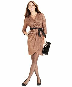 NY Collection Dress, Three-Quarter-Sleeve Belted Metallic Faux-Wrap - Dresses - Women - Macy's