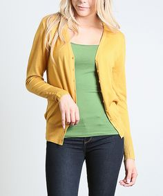 84f6d78af32f3 Love this 42POPS Mustard Button V-Neck Cardigan - Plus by 42POPS on  zulily