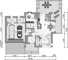 Rzut parteru projektu Jupiter V Bis House Plans, Sweet Home, Floor Plans, How To Plan, Houses, Home Plans, Plants, Asylum, Projects