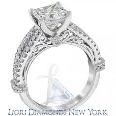 3.18 Carat F-VS1 Certified Princess Cut Diamond Engagement Ring 18K White Gold - Liori Exclusive Engagement Rings - Engagement - Lioridiamonds.com