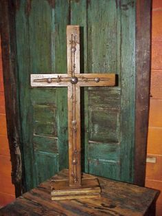 """Rustic Wood & Barbed Wire Pedestal Cross 32"""" – Celebrate Faith"""