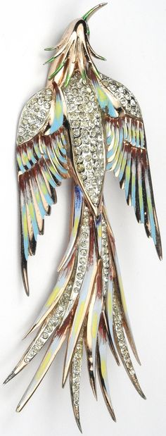 Corocraft Sterling Gold Pave and Enamel Giant Bird of Paradise in Flight Pin