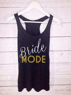 BRIDE MODE Racerback White and Gold Writing by AmericanSwagCo
