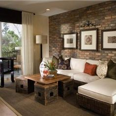 love the brick accent wall. get the same look diy installation with our faux brick panels