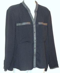 HELMUT LANG Shirt sz m Gray Crepe & Leather Top Blouse #HelmutLang #ButtonDownShirt #Casual