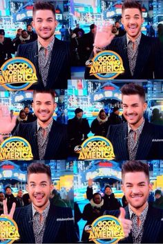 Collage of Adam Lambert at Good Morning America waiting to announce summer tour with Queen