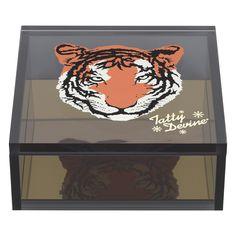 Tiger Small Storage Box design by Wild & Wolf Small Storage Boxes, Storage Baskets, Storage Organization, Modern Baskets, Tatty Devine, Wild Wolf, Stationery Store, Keep Jewelry, Acrylic Box