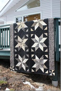 Black and White star quilt