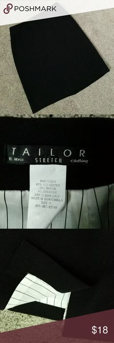 """Black Skirt size 4 Purchased at B. Moss in the late 90's.  Worn a few times and dry-cleaned.  Excellent used condition.  13.5 in. at waist.  20"""" long. Tailor B. Moss Skirts"""