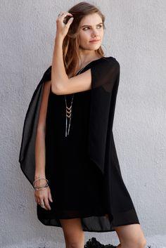 c138f55b98da6 EPIC ELEGANCE CAPE DRESS CHIFFON - BLACK  68.00 Make a grand entrance with  this beautifully elegant