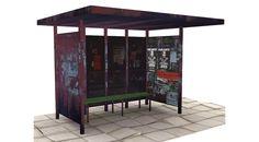 Modèle 3D d'un arrêt de bus ou abri-bus avec sa chaussée.