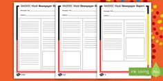 Naidoc Week Newspaper Article Plan Writing Template  Recount